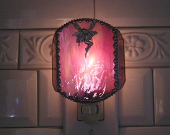 Stained Glass Nightlight|Fairy|Pink|Fairy Nightlight|Home & Living|Lighting|Night Lights|Glass Art|Handcrafted|Made in USA
