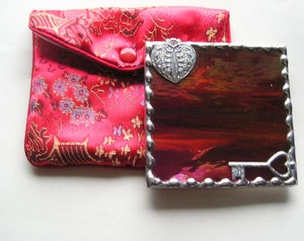 Stained Glass|Stained Glass Purse Mirror|Pocket Mirror|Key to My Heart|Red|Brocade Pouch|Bath & Beauty|Makeup Tools|Handcrafted|Made in USA