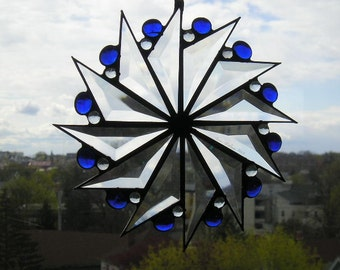 Stained Glass Art|Stained Glass Suncatcher|PinwheelBeveled Glass|Blue Gems|Art & Collectibles|Glass Art|Suncatchers|Handcrafted|Made in USA