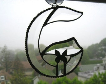 Stained Glass Initial G|Letter G|G|G Monogram|Beveled Glass|Butterfly|Art & Collectibles|Glass Art|Suncatchers|Handcrafted|Made in USA