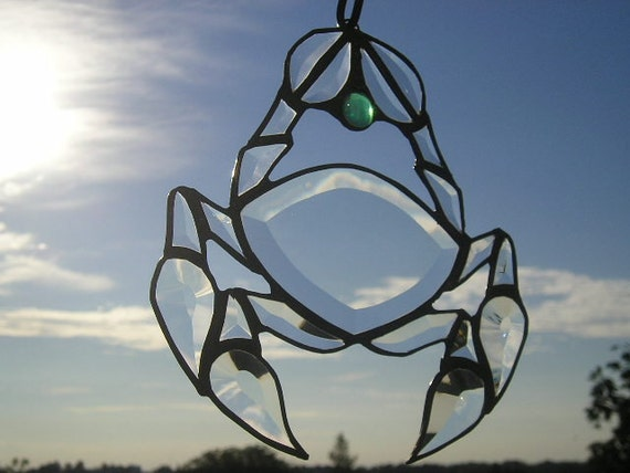 Stained Glass|Stained Glass Suncatcher|Crab Suncatcher|June/July Suncatcher|Cancer the Crab|Zodiac|Beveled Glass|Handcrafted|Made in USA