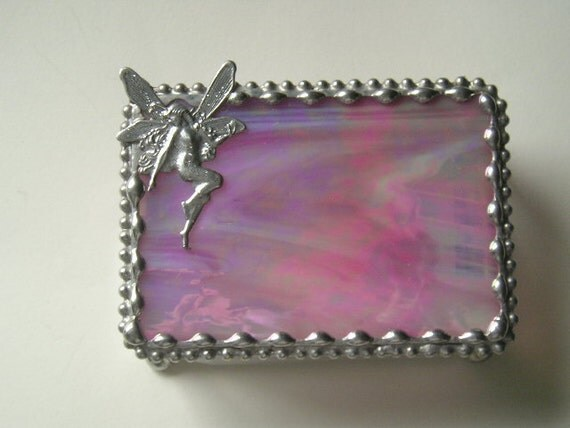 Stained Glass Jewelry Box|Trinket Box|Fairy|Fairy Jewelry Box|Pink|Jewelry|Jewelry Storage|Handcrafted|Made in USA