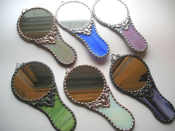 Stained Glass Hand Mirror -Your Color Choice - Handcrafted - Made in USA