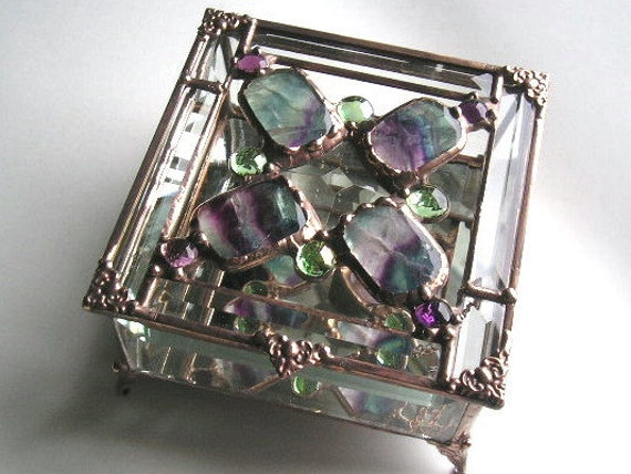 Stained Glass Jewelry Box -  Beveled Glass with Fluorite - OOAK - Handcrafted - Made in USA
