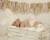 Crochet Fluffy White Baby Bunny Set - Hat and Diaper cover - Spring Easter Photo Prop - made to order