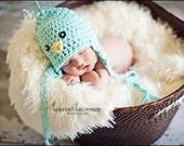 Crochet Baby Blue Bird Earflap Hat - Photo Prop - made to order