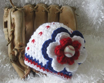 Crochet Baby Girl Baseball Hat with flower - Photo Prop - made to order
