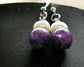 White freshwater pearl & Purple quartz dangle earrings
