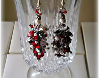 White Pearl & Red Coral  Beaded Cluster Earrings - Silver and Gunmetal,  Mixed Media, Cluster Dangle Earrings