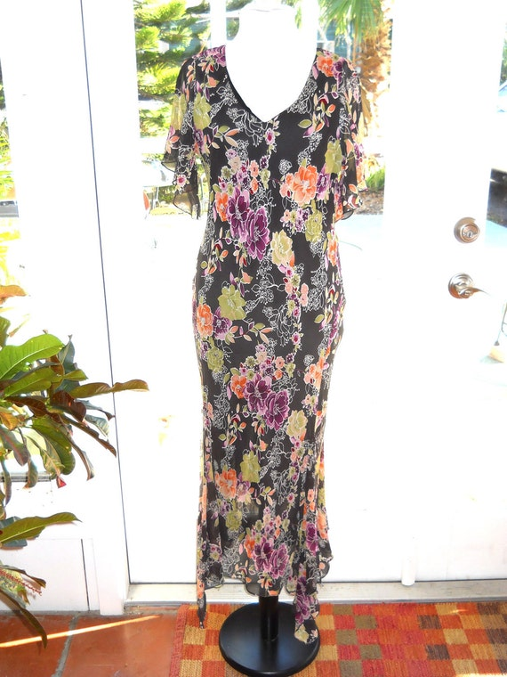 Vintage maxi Adrianna Papell floral dress - size 14