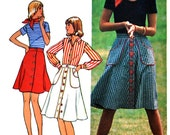 Vintage 1970s Sewing Pattern, Front Button Skirt Knee Length Short and Below Knee / Simplicity 6778 / size 18 waist 32