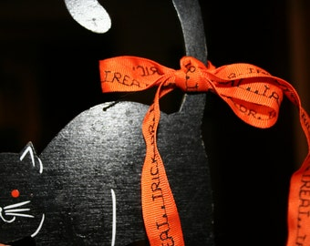 Orange TRICK OR TREAT hair ribbon
