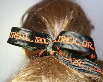 Black TRICK OR TREAT grosgrain ponytail hair ribbon