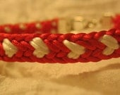 Kumihimo Valentine's Day Bracelet in Red and White Satin