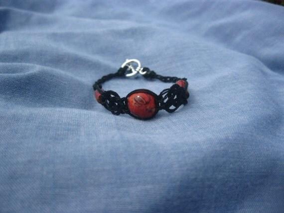 Black Hemp Bracelet with Handpainted Wood Beads