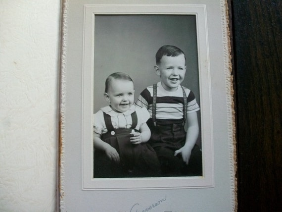 """1940s Photograph of Two Very Happy Boys Vintage Family Photo 5"""" x 6"""""""