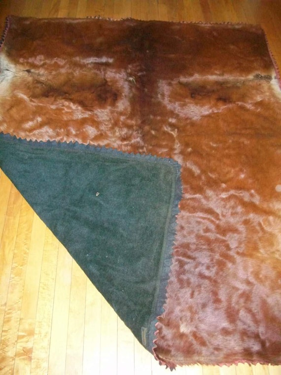 Antique Horsehide Blanket or Lap Robe for Sleigh Buggy or Wagon Horse Hair