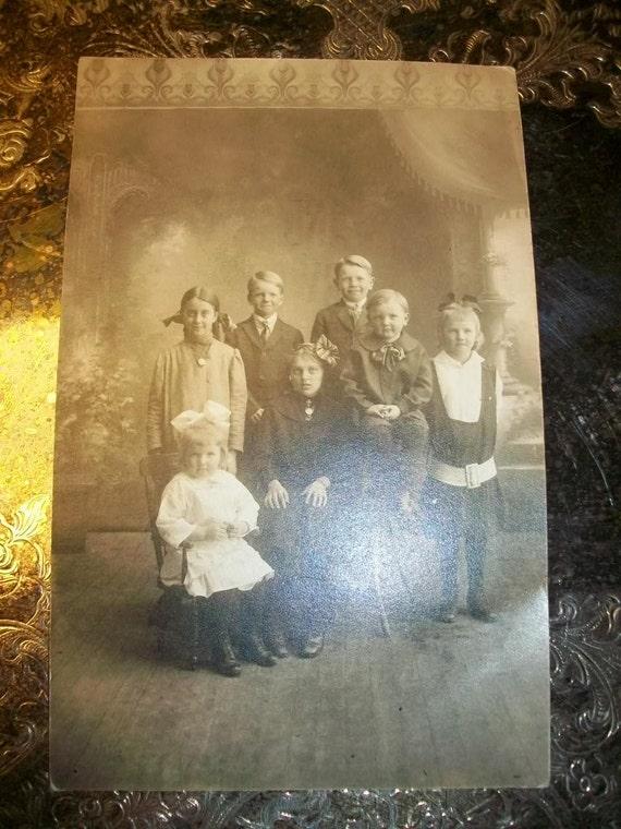 Vintage Photograph Postcard 1910s Large Family of Children