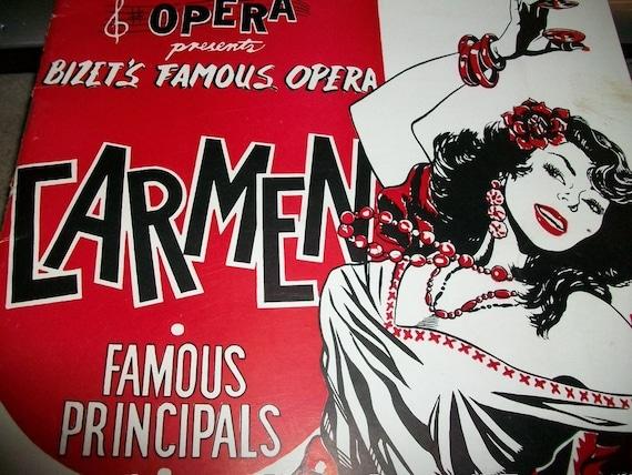 1949 Carmen Souvenir Libretto Book Frame Ready Vintage