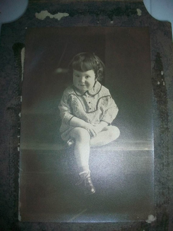 "1920s Photograph Cutest Little Imp in the World  8 1/2"" x 5 3/4"""