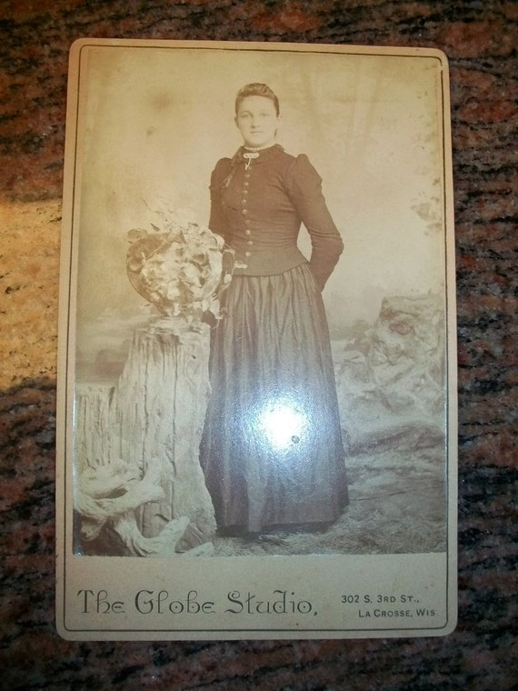 """1800s Cabinet Card Photograph Victorian Woman By a Stump 6 1/2"""" x 4 1/4"""""""