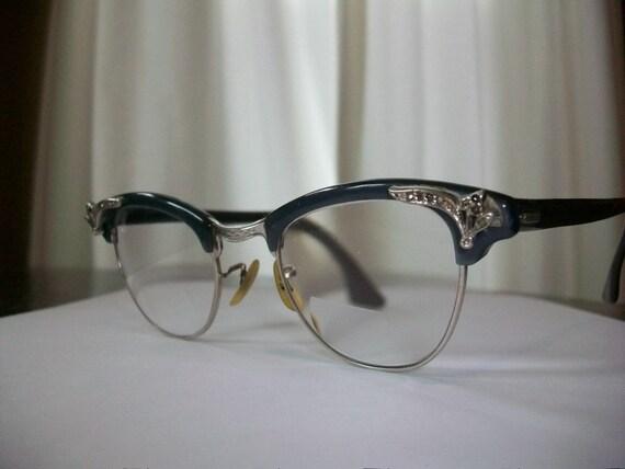 1950s 12K Gold Eyeglasses Shuron Black/Dark Gray w/ Silver Trim & Rhinestones Vintage Fab
