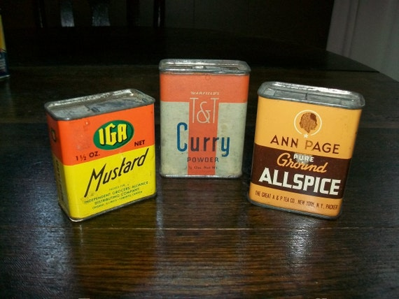 1940s Kitchen Spice Tins Vintage Lot of 3