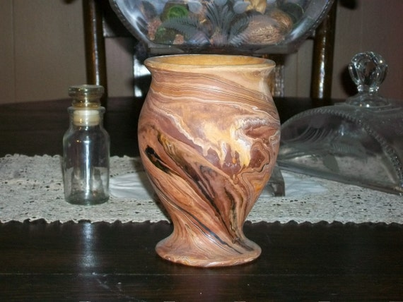Vintage Nemadji Pottery Vase Brown with Swirls Made with Badlands Clay