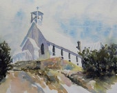 watercolor ORIGINAL Our Lady of Tears 2--church rustic chapel watercolour