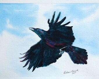 watercolor ORIGINAL Raven in Flight raven crow bird