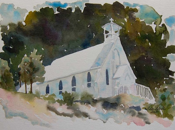 watercolor ORIGINAL Our Lady of Tears 1--church chapel rustic watercolour