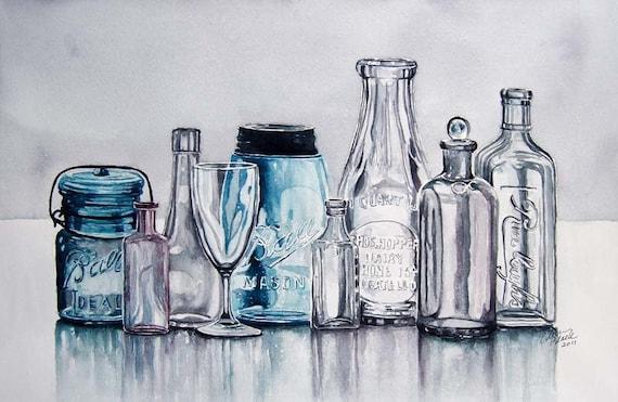 Vintage Glass--ORIGINAL watercolor