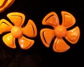 Vintage Enamel Metal Bright Sunny Orange Flower Pin and Matching Earrings