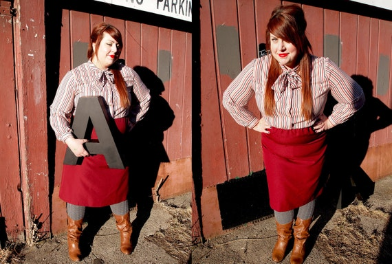 Size 18/20. Secretary or student. VIntage plus size dress with lovely striped blouse & bow atop a fitted maroon skirt.