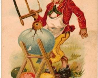 1906 Postally Used Vintage Postcard, Bunny with Egg and Chick