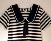 RESERVED - Vintage Navy & Cream Striped Nautical Dress