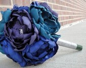 Reserved for Christina Y. - 6 Peacock Bridesmaid Bouquets