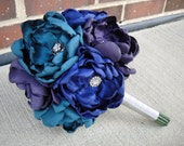 Reserved for Stacy R. - Peacock Bridal Bouquet and 2 Hair Clips
