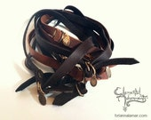 Skinny Double Arm Band-Unisex Leather Wrist Wrap in DARK BROWN