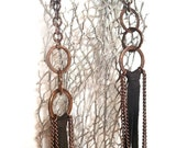 RESERVED for Alaina - Leather Fringe Earrings with Hammered Bronze - Extra Long