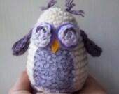 Mae - A Cute Crocheted Amigurumi Lavender/Purple and Cream Colored Owl. A Sweet Feathered Friend.