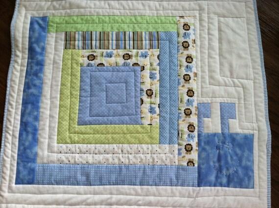 """CLEARANCE Baby blanket """"Slinky Snail"""" handmade for boys"""