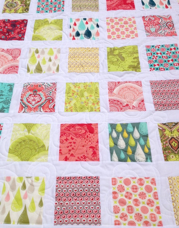 """Handmade Tula Pink """"Prince Charming"""" quilt baby lap throw size"""