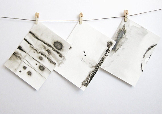 High Landscape Triptych - 3 x Small Abstract Ink Drawings