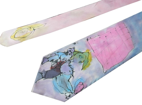 Tennis Silk Tie. Painted by 3-year old. FREE shipping WORLDWIDE
