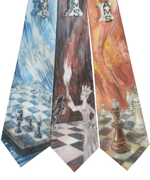 3 matching custom made hand painted silk ties for the winners of competition. Artistic OOAK prizes, custom design made on request.