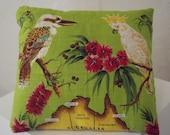 Australian vintage souvenir tea towel cushion/pillow lime green with Australian birds