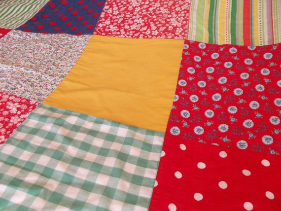 Vintage patchwork double bed quilt, reds, blues, yellows, greens, summer quilt or picnic blanket