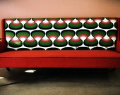 Red Hot Sofa with Retro Graphic Upholstery-- 1950s Scandinavian Style (SF001)