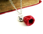 Nature red flower and apple necklace